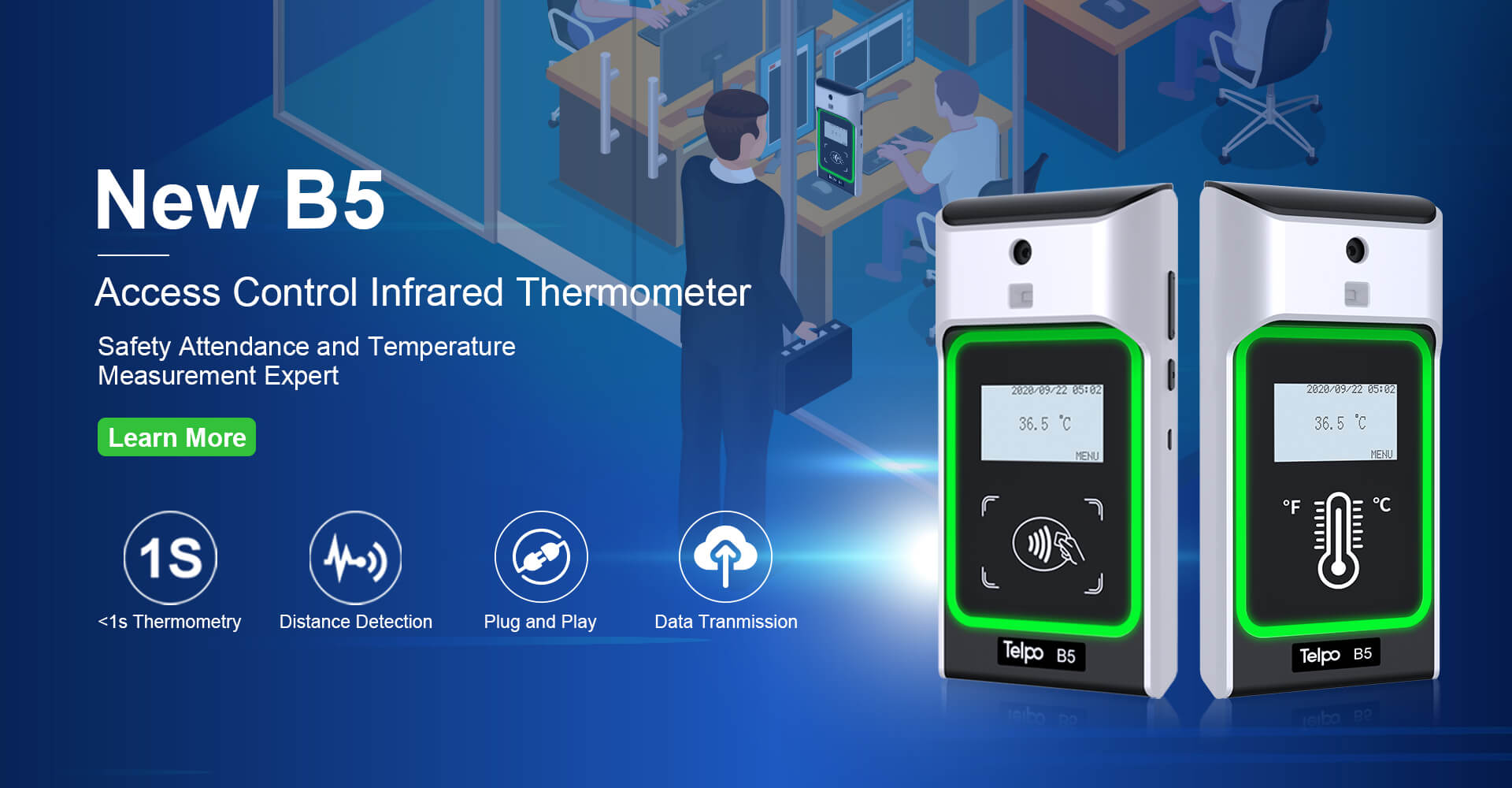 B5 Wall-mounted Non-contact Infrared Thermometer